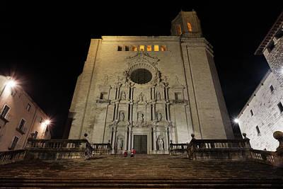 Girona Cathedral At Night Print by Artur Bogacki