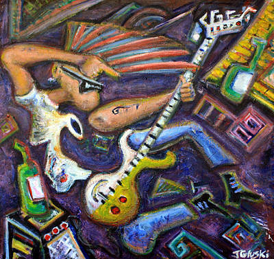 Pearl Jam Painting - Give Em The Boot - Punk Rock Cubism by Jason Gluskin