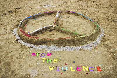 Message Art Photograph - Give Peace A Chance - Sand Art by Colleen Kammerer