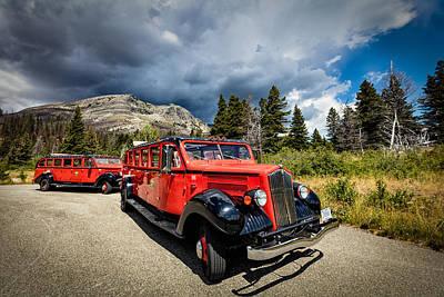 Glacier National Park Antique Bus Print by Andres Leon