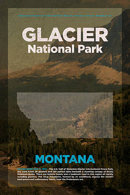 National Parks Mixed Media - Glacier National Park In Montana Travel Poster Series Of National Parks Number 21 by Design Turnpike
