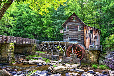 Grist Mill Digital Art - Glade Creek Grist Mill 2 - Paint by Steve Harrington