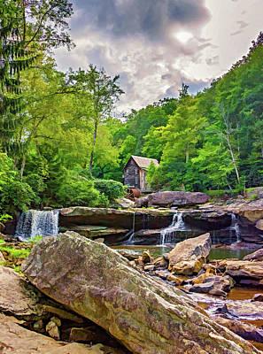 Grist Mill Digital Art - Glade Creek Grist Mill 4 - Paint by Steve Harrington