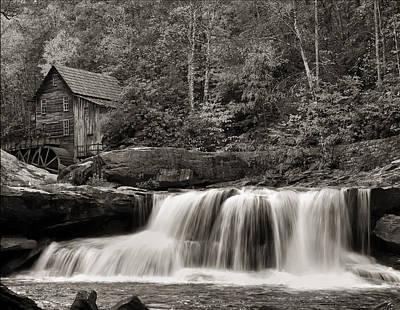 Grist Mill Digital Art - Glade Creek Grist Mill Monochrome by Chris Flees