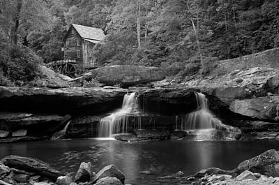 Glade Creek Grist Mill - Cooper's Mill Bw Print by Gregory Ballos