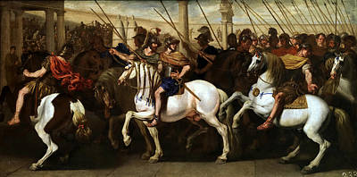Aniello Falcone Painting - Gladiators And Roman Soldiers Entering The Circus by Aniello Falcone