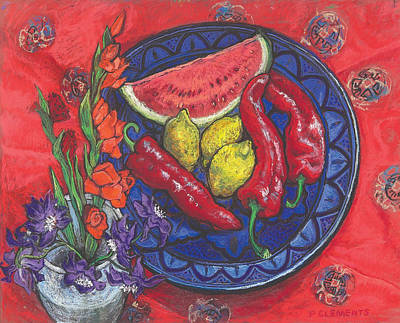 Gladiolus Drawing - Gladioli And Sweet Chillies by Patricia Clements