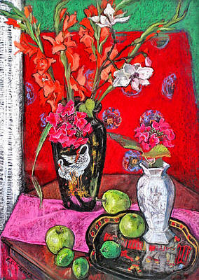 Gladiolus Drawing - Gladioli In Black Chinese Vase by Patricia Clements
