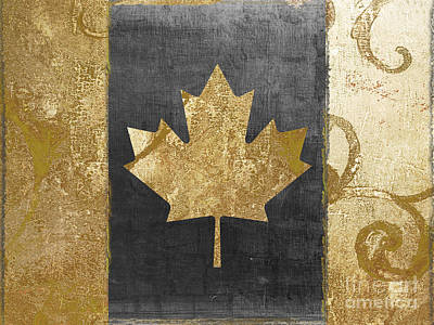 Gold Leaf Painting - Glamour Gold Canada Flag by Mindy Sommers