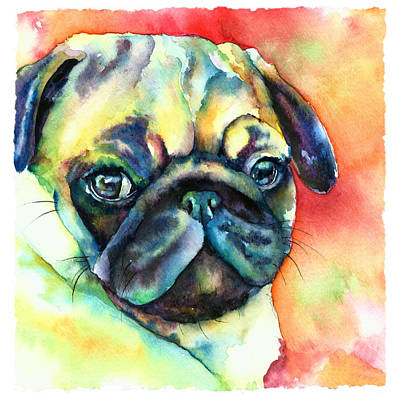 Fawn Pug Painting - Glamour Pug by Christy  Freeman