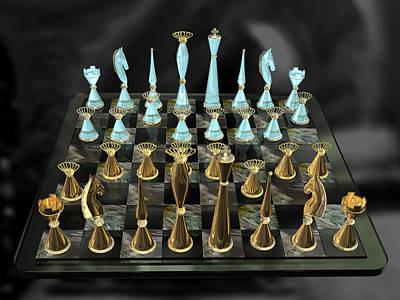 Glass Chess Set Series 01 Print by Carlos Diaz