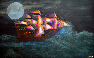 Sailboat Painting - Pirate Ship by Ken Figurski