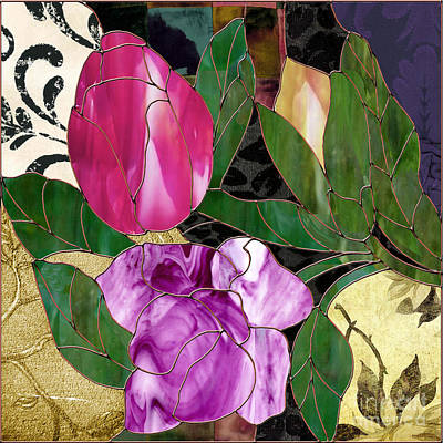 Glassberry Stained Glass Rose Print by Mindy Sommers