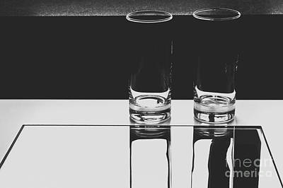 Glasses On A Table Bw Print by Iryna Liveoak
