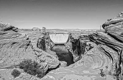 Arizona Photograph - Glen Canyon Dam Bw by Tod and Cynthia Grubbs