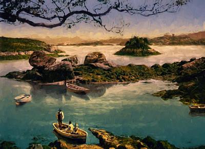 Row Boat Digital Art - Glengarriff Harbor by John K Woodruff