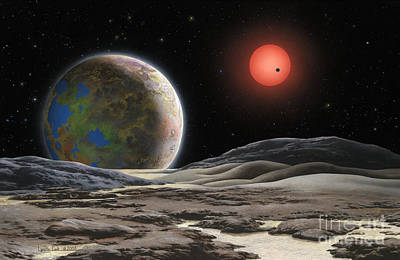 Extrasolar Planet Painting - Gliese 581 C by Lynette Cook