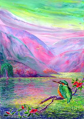 Magenta Painting - Kingfisher, Shimmering Streams by Jane Small