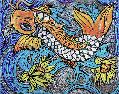 Blues Painting - Glitter Fish by Laura Barbosa
