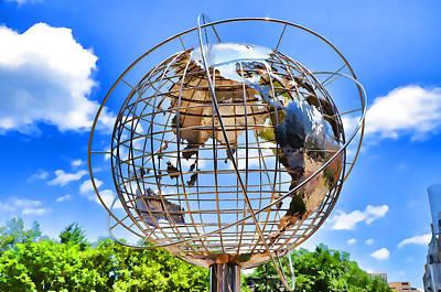 Warner Park Painting - Globe At Columbus Circle by Lanjee Chee
