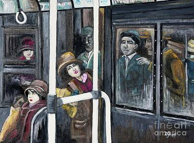 Gloria Painting - Gloria Swanson In Subway Scene From Manhandled by Reb Frost