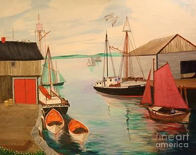 Gloucester Harbor - Mackerel Seiners 1933 Original by Bill Hubbard