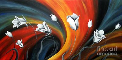 Glowing Flowers 5 Print by Uma Devi