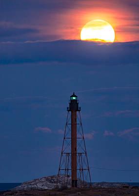 New England Ocean Digital Art - Glowing Moon Rises Over Marblehead Light by Jeff Folger