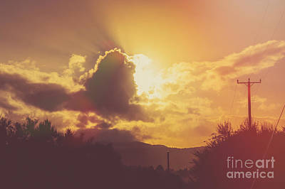 Glowing Orange Hilltop View Of An Afternoon Sunset Print by Jorgo Photography - Wall Art Gallery