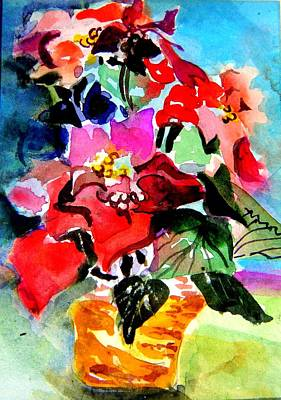 Glowing Poinsettias Original by Mindy Newman