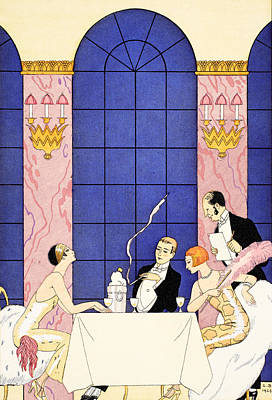 Restaurant Art Drawing - Gluttony by Georges Barbier