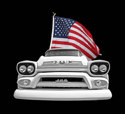 Gmc Pickup With Us Flag Print by Gill Billington