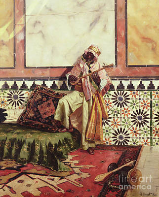 Persian Carpet Painting - Gnaoua In A North African Interior by Rudolphe Ernst