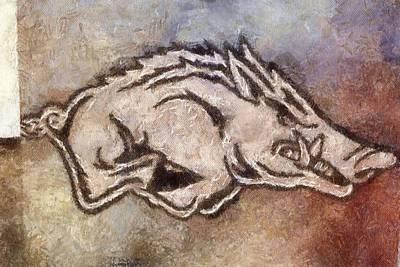 University Of Arkansas Painting - Go Hogs Go  by Dawn Bearden