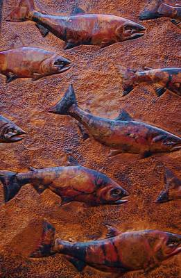 Metal Fish Art Photograph - Go With The Flow by Christopher James