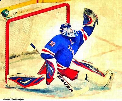 Henrik Lundqvist Painting - Goalie by Rachel Niedermayer