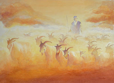 Mideast Painting - Goat Herder by George Harth