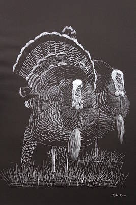 Wild Turkey Drawing - Gobblers by Mike Kruse