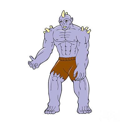 Goblin Digital Art - Goblin Monster Horn Cartoon by Aloysius Patrimonio