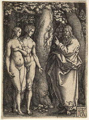 Heinrich Aldegrever Drawing - God At Right Forbidding The Nude Adam And Eve At Left To Eat From The Tree Of Knowledge by Heinrich Aldegrever