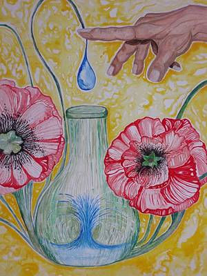 Poppy Painting - God Collects Our Tears  by Rachael Pragnell