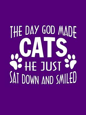 God Made Cats Print by Sophia