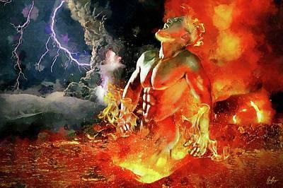 God Of Fire Print by Marcin and Dawid Witukiewicz