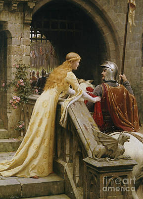 Helmet Painting - God Speed by Edmund Blair Leighton