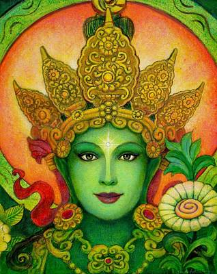 Goddess Painting - Goddess Green Tara's Face by Sue Halstenberg