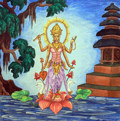 Fantasy Tree Art Painting - Goddess Saraswati by Alexandra Florschutz