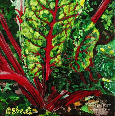 Spinach Painting - God's Kitchen Series No 7 Swiss Chard by Caroline Street