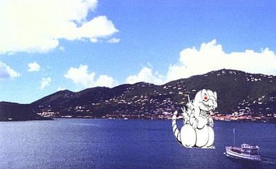 Monster Digital Art - Godzilla Vacations In The Caribbean by Leonard Rosenfield