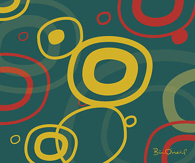 Abstract Print - Gogo - Retro-modern Abstract by Bill ONeil