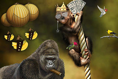 Gorilla Mixed Media - Going Bananas by Marvin Blaine